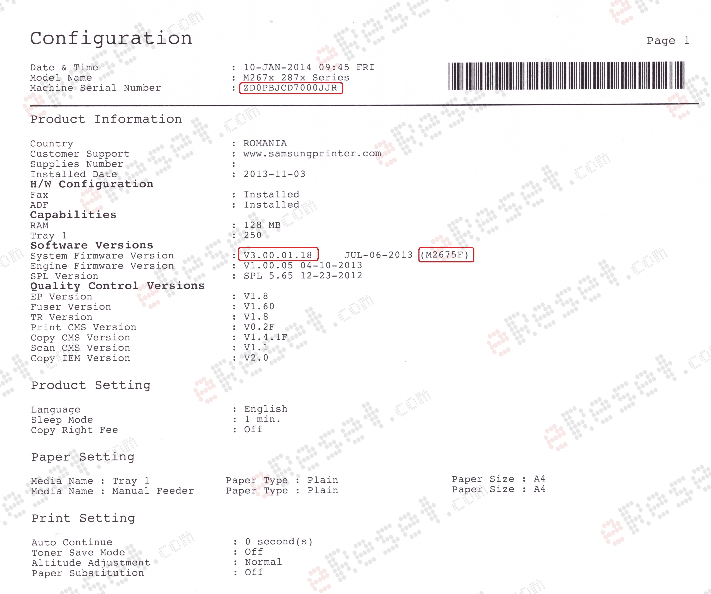 Reset Samsung Xpress SL M 2676 F/N/FN M2876 FD/FW/ND | eReset – fix
